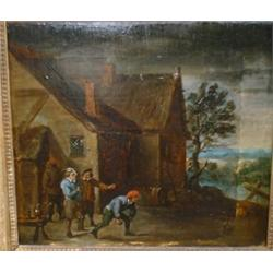 "École hollandaise 17e S./17th C. Dutch School.  ""A Late Night Bowling Game""...."