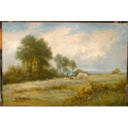 "EAST, Sir Alfred, 1849-1913.  ""In the Hayfields, Kettering"".  Huile sur toile, signée et datée ""1..."