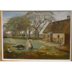 "WATSON, J.  ""Unloading the Hay outside the Farmhouse"".  Huile sur toile, signée...."