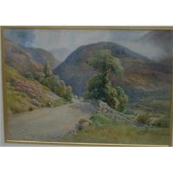 "PRETTY, George.  ""A View in the Lake District"".  Aquarelle, signée.  École anglaise 19e S.  Water..."