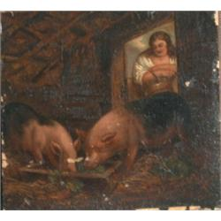 "École anglaise 19e S./19th C. English School.  ""Pig Feeding Time"".  Huile sur toile...."