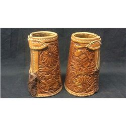 Highly tooled cowboy cuffs