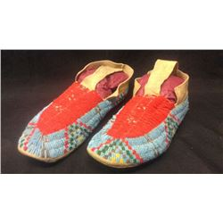 Sioux Moccasins, Brain Tanned Sinew Sewn