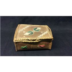 Square Birch Box with Colored Porcupine Quills