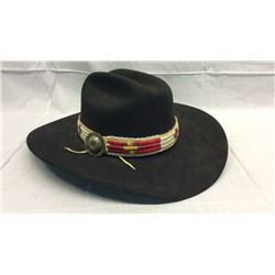 Black Resistol 7 3/8 Hat with quilled band and