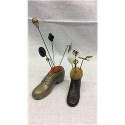 2 Shoe Pin Cushions with Stick Pins