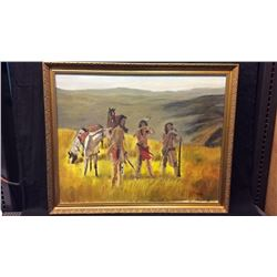 3 Indian Scouts Original Oil