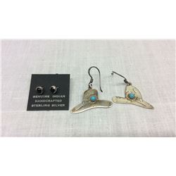 2 Pairs Native American Made Sterling Earrings