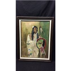 J Annis Original Oil. Indian with Shield