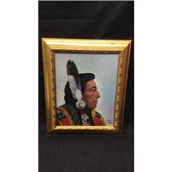 Iron Eyes by John Hall. Original Oil
