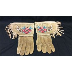 Beaded Gauntlets with Translucent Beads 1940s