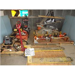 Misc. Saws, Wrenches, Pump, Wheelbarrows, Pallet Jack, Pressure Washer