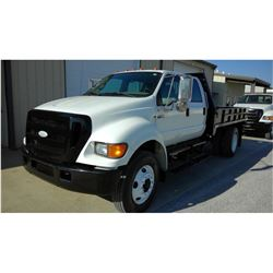 2007 FORD F750 Flatbed Truck SN:3FRNW75Z07V475656 --crew cab, diesel engine, A/T, 12' steel flatbed