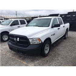 2015 DODGE 1500 Pickup Truck SN:3C6RR7KTXFG629645 --4x4, crew cab, V8 gas, A/T, AC, odometer reading