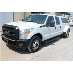 2012 FORD F350 Pickup Truck SN:1FT8W3C68CEB55051 --crew cab, dually, V8 gas, A/T, AC, camper shell,