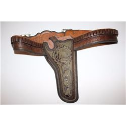 Authentic Mexican Pitiado and leather holster  with matching cartridge belt appearing to be  for a C