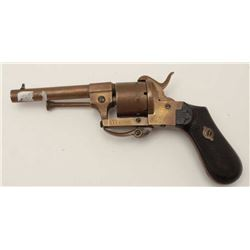 Unusual all brass pinfire revolver in 7.5mm  pinfire with six shot cylinder and folding  trigger. Ch