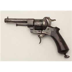 Lefaucheux double action pinfire revolver in  9mm with a six shot cylinder, S/N L.F. 10119.  Measure