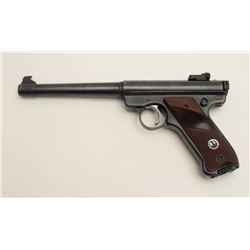 "Ruger Mark I semi-automatic pistol, .22LR  caliber, 7"" barrel, blued finish, checkered  target black"