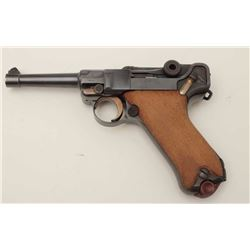 "Luger Model 1920 Commercial semi-automatic  pistol, 7.65mm caliber, 4"" barrel, blued  finish, checke"