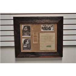 "Barn wood framed and matted display of Emmett  Dalton items, approximately 23"" x 27""  overall includ"