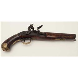 "British Military style flintlock pistol  signed ""T. Holmens"" on the lock with brass  mounts and full"