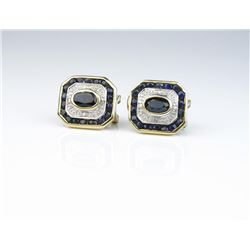 Nice sapphire and diamond earrings with a  total combined weight of approx. 2.00 carats  set in 14 k