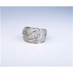 Very heavy ladies custom made ring pave set  with approx. 1.50 carats in round diamonds of  F-G colo