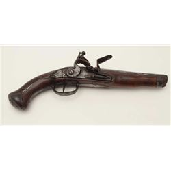 Northern European or Scandinavian flintlock  military style pistol from mid-18th century  showing sm