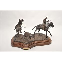 """Original bronze entitled """"Good Horses, Fast  Loops"""" by Bill Nebeker, approximately 17"""" in  height in"""