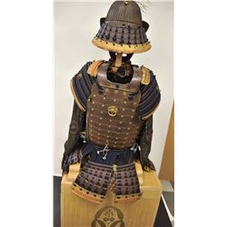 Fine suit of Japanese armour circa 1700s with  splendid 62 plate iron helmet in Sao Tome  style with