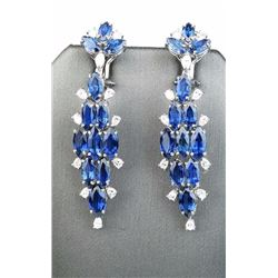 Very Important Platinum Sapphire and Diamond  drop earrings featuring over 10.00 carats in  matching