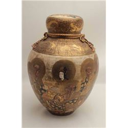 Japanese Royal Satsuma Palace style urn with  lid. Best quality and circa mid to late 19th  century