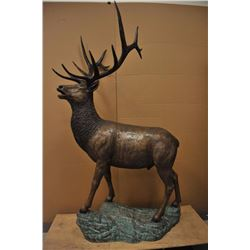 "Elk bronze on base measuring approximately  75"" in height by 4 feet across the base.  Unsigned but n"