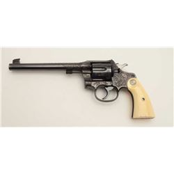 "Factory Engraved Colt New Service Target DA  revolver, .45 Colt caliber, 7.5"" barrel,  blued finish,"