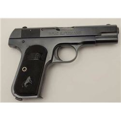 "Colt Model 1908 semi-automatic pistol, .380  caliber, 4"" barrel, blued finish, checkered  hard rubbe"