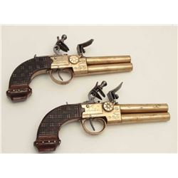 Ketland & Co., London-marked pair of all  brass O/U tap action flintlock pistols, .41  caliber, 3.5""