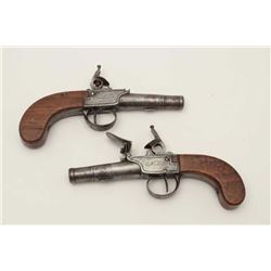 "Pair of French center hammer flintlock  pistols with screw of barrels signed ""Michel  Berleur"". Meas"