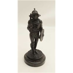 Authentic antique bronze circa late 19th to  early 20th century of Roman gladiator with  battle armo