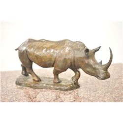 "Original bronze of black rhino signed ""Don  greig"" and numbered ""22/30"" with signature  and cartouch"
