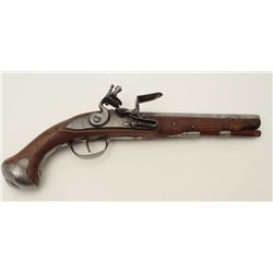 Eighteenth Century military style flintlock  pistol with later re-stocking; crown with  cross proof
