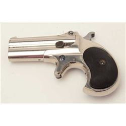 "Remington O/U derringer, .41 caliber, 3""  barrels, nickel finish, checkered hard rubber  grips, S/N"