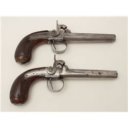 """Pair of unusual percussion pistols marked """"B  & Cie""""; large bore, checkered wood grips (one  with an"""