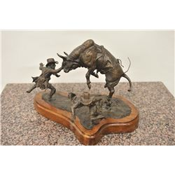 Original bronze casting of rodeo by Dr. K.  Taylor, #9 /20 circa 1982. Great action and  detail show