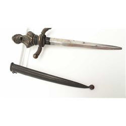 "Cast bronze figural dagger with bust of  helmeted goddess on hilt circa 1800-1860.  Measures 9 ½"" ov"