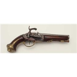 Spanish miquelet lock pistol converted from  flintlock to percussion during period of use.  Measures