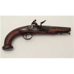 Continental flintlock pistol in the French  style circa late 18th century in good to very  good cond