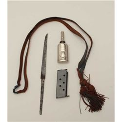 Bonanza lot described as follows: Cord for  Japanese WWII Marine sword, .25 caliber clip  (Unidentif