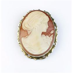 Nice large Cameo set in 14 karat gold tone  overlay. Estimates $100-$200