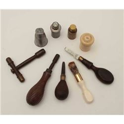 Collection of gun tools and accessories from  19th to 20th century. 1 English flintlock  period scre